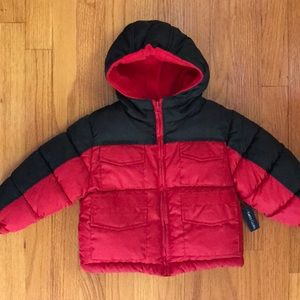 NWT Faded Glory Hooded Baby Puffer Jacket.Size 18M